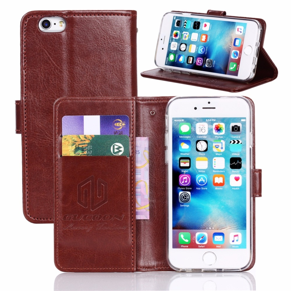 GUCOON Vintage Brieftasche Fall für iPhone 11 Pro Xs Max X XR SE 5 5S 6 6S 7 8 Plus PU Leder Retro Flip-Cover Fashion Tasche Strap