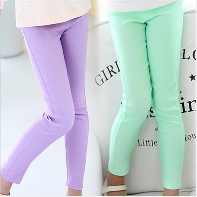 Ywstt Girls Candy Color Leggings 2017 Kids Casual Pants Girls  Elestic Waist Trousers