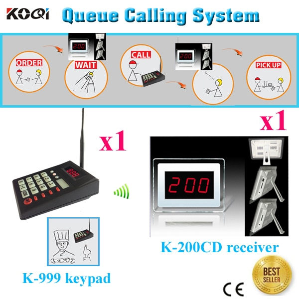 Customer Queue System 433.92 For Restaurant Customer Give Order To Counter DHL/EMS Shipping Free( 1 display + 1 numeric keypad)