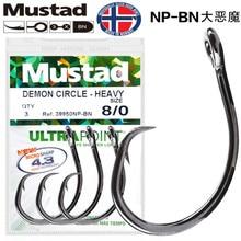 Mustad 39950NP Ultrapoint Fishing Hooks Deep Ocean Worm Lure Sharpen Barbed Hook High Carbon Steel Circle Fishhooks Black Fish