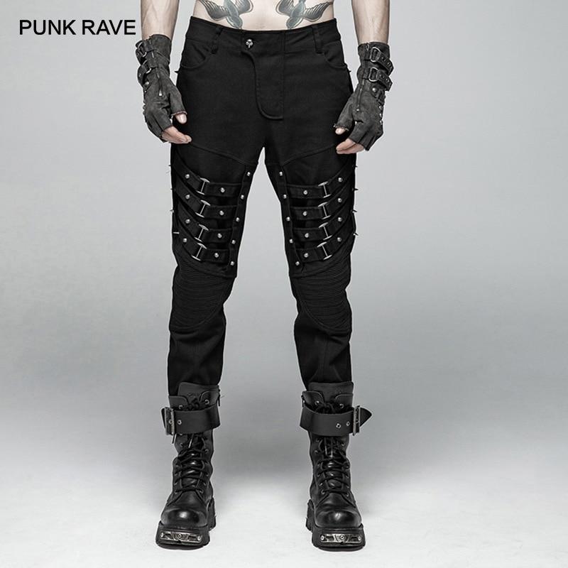 PUNK RAVE Mens Punk Heavy Metal Tip Rive Black Trousers Gothic Performance Personality Harajuku Pants Men Streetwear