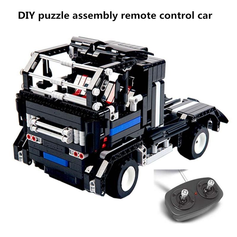Diy rc 블록 자동차 퍼즐 부모-자식 대화 형 장난감 suv 조립 및 삽입 전기 childrren 빌딩 선물 상자 자동차 모델