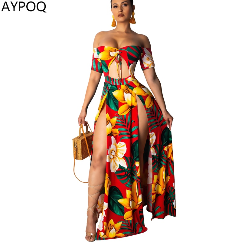 AYPOQ Women Sexy Bra Dress Backless Floral Print Split Dresses Short Sleeve Off Shoulder Tie Crop Top Party Club Beach Sundress