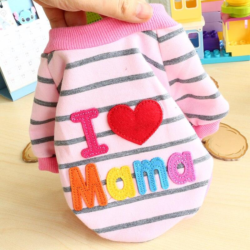 Nueva camisa suéter a rayas para perros, camisa de primavera I amo a mamá y papá, ropa de Gato XXS XS S M L