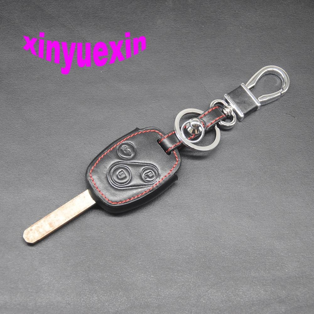 Xinyuexin couro caso capa chave do carro para honda CR-V civic caber liberado stepwgn inteligente remoto chave jaqueta com chaveiro 3 botões