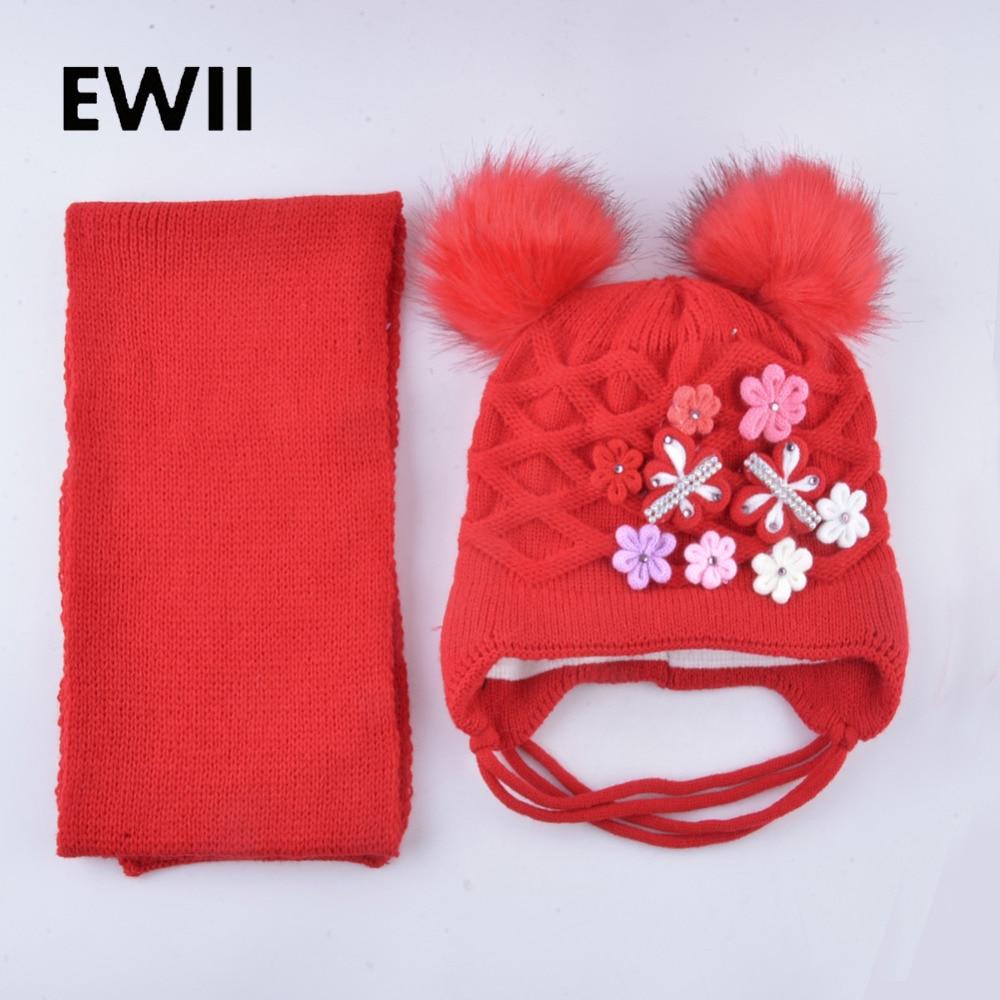 Kids scarf hat for girls thick winter cap double pompom baby flowers beanies hats casquette children knitting set caps bonnet