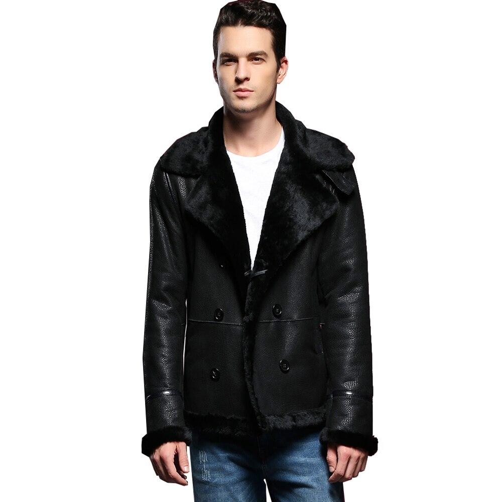 معطف بياقة مدورة للرجال ، معطف شتوي غير رسمي من جلد الغنم الحقيقي ، سميك وناعم ، دافئ