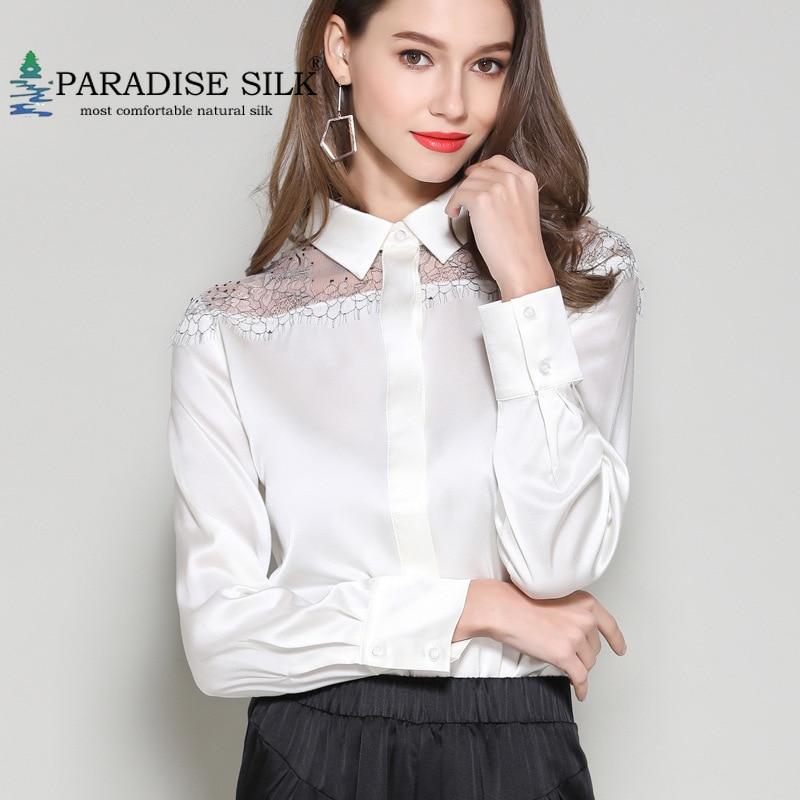 Blusa de seda Real de satén elástico manga larga señora ahuecada hombro camisa talla L XL XXL XXXL