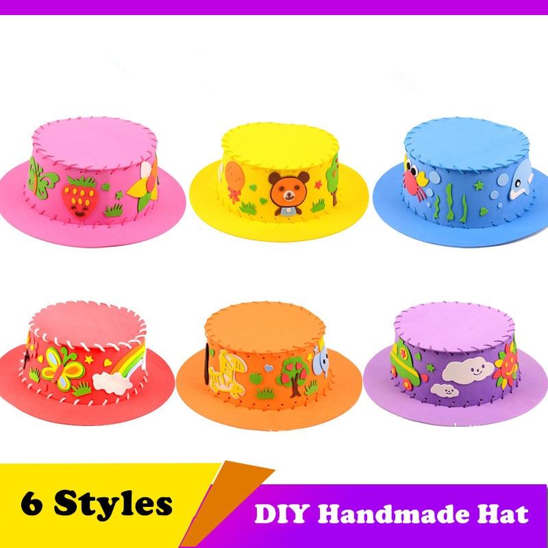 Gorro de EVA hecho a mano 3D niños DIY sombrero hecho a mano respetuoso con el medio ambiente 3D EVA artesanal regalos Kits DIY manualidades para gorros juguete para niños