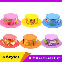 Hand-made 3D EVA Hat Children DIY Handmade Hat Enviromental-friendly 3D EVA Handmade Craft Gifts Kits DIY Hat Craft Toy for Kids
