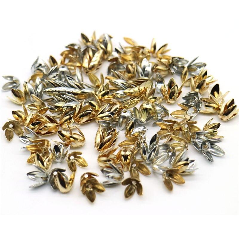 8mm/10mm Großhandel 100/150 stücke Vier verlässt Bead Tassen Silber Überzogene Blume blütenblatt Spacer Perlen caps Charms Für Schmuck Machen