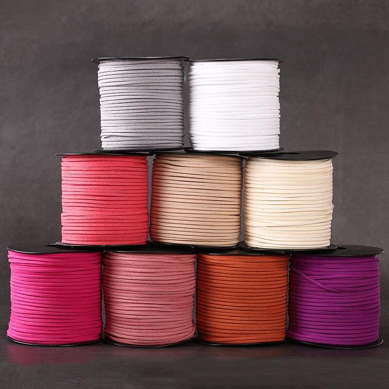 5 metros/lote plano imitación gamuza coreano cuero de terciopelo de encaje DIY cuerda hilo para hacer joyería artesanías decorativas Accesorios