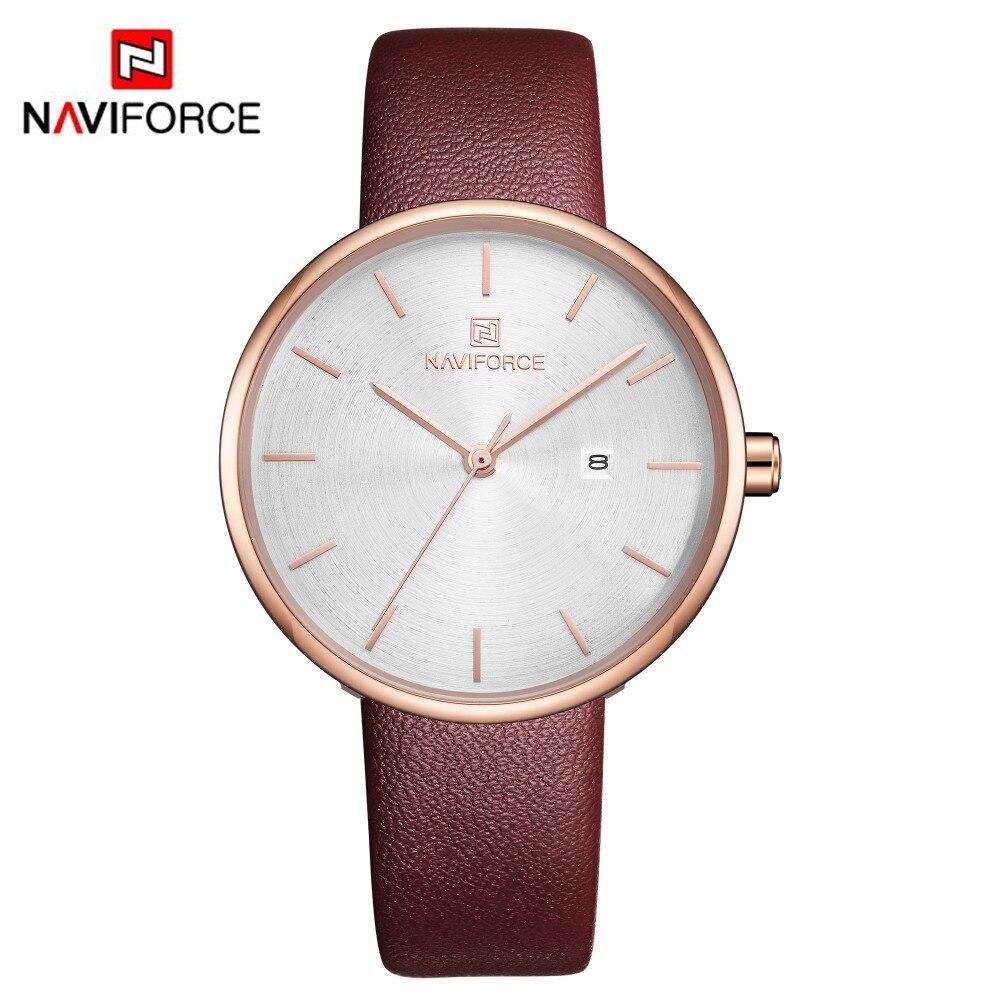 Promocja zegarki sprzedaż NAVIFORCE luksusowa marka moda damska zegarek sukienka prosty zegarek skórzany zegarek kwarcowy relogio feminino prezent
