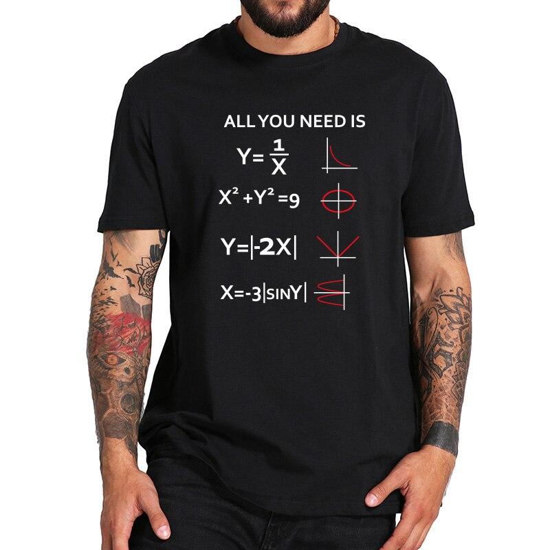 "Camiseta de algodón de manga corta negra con diseño romántico inspirado en la frase ""Math"" All you need Is Love Nerd ""100%"