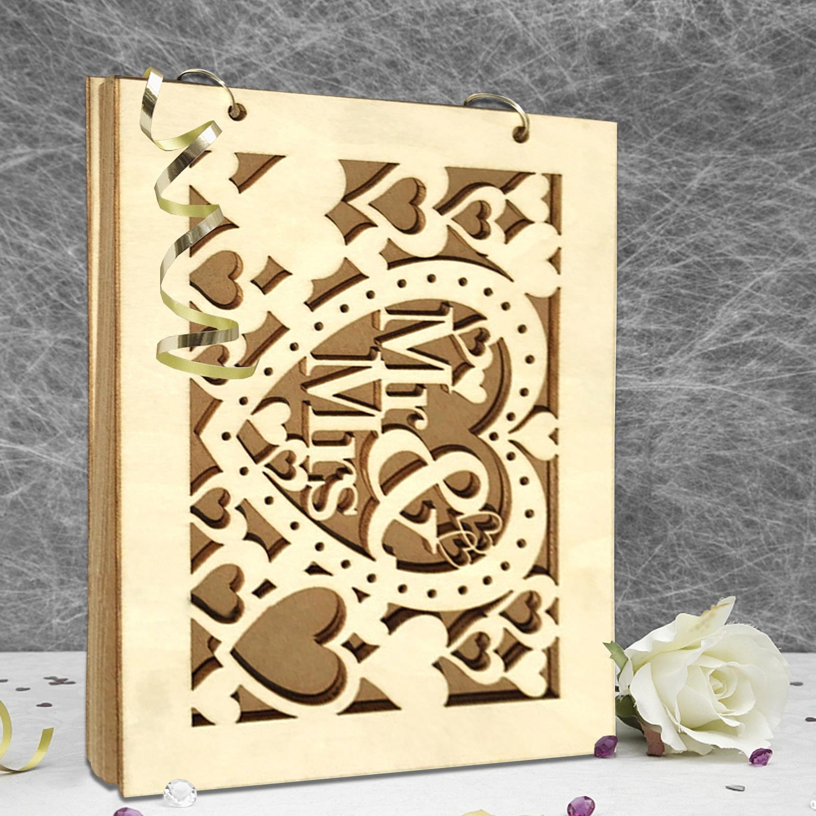Ślub księga gości A4 rozmiar z 20/30 stron spersonalizowany podpis księga gości z drewna na zamówienie DIY Photo książka podpis dekoracje ślubne