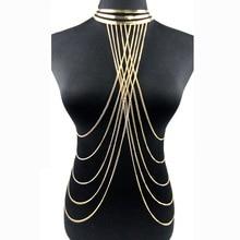 Sexy Multilayer Long Tassel Body Necklace Fashion Punk Golden Bikini Harness Big Torques Necklace Beach Jewelry for Women