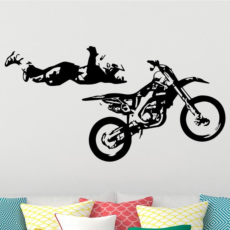 Adhesivos removibles para pared de motocicleta de deportes divertidos, adhesivos removibles para pared, Mural para decoración del hogar, dormitorio, DIY, decoración impermeable para el hogar