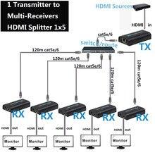 1x10 HDMI Splitter über IP UTP durch Cat5e RJ45 1080p HDMI 1x5 Splitter HDMI Extender 120m Lan Splitter Sender Empfänger TX RX