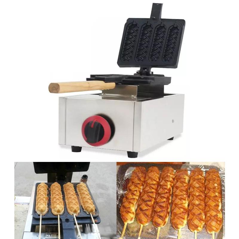 Gas flip waffle hot palo para perros maker perrito caliente francés máquina crujiente salchicha que hace la máquina de snack equipo np-613