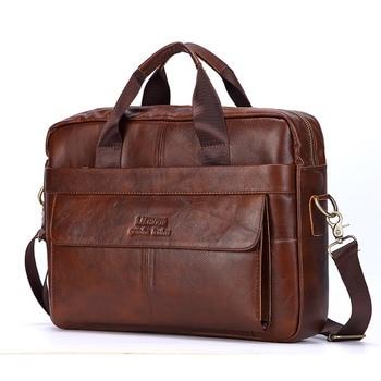 Sacs à main en cuir véritable pour hommes, sacoches de voyage Business, sac à bandoulière pour hommes décontracté housses d'ordinateur en cuir
