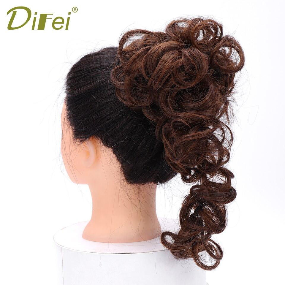 DIFEI banda de goma extensión de pelo moño de pelo corto rizado resistente al calor pelo sintético colores marrones negros mujeres Chignon