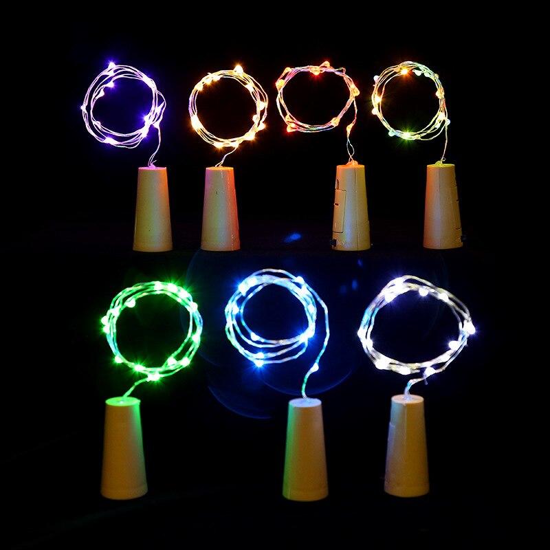 Año nuevo 1M 2M LED plateado cuerda de alambre luz tapón de botella guirnalda de hadas para cristal artesanía de decoración navideña alimentado por batería