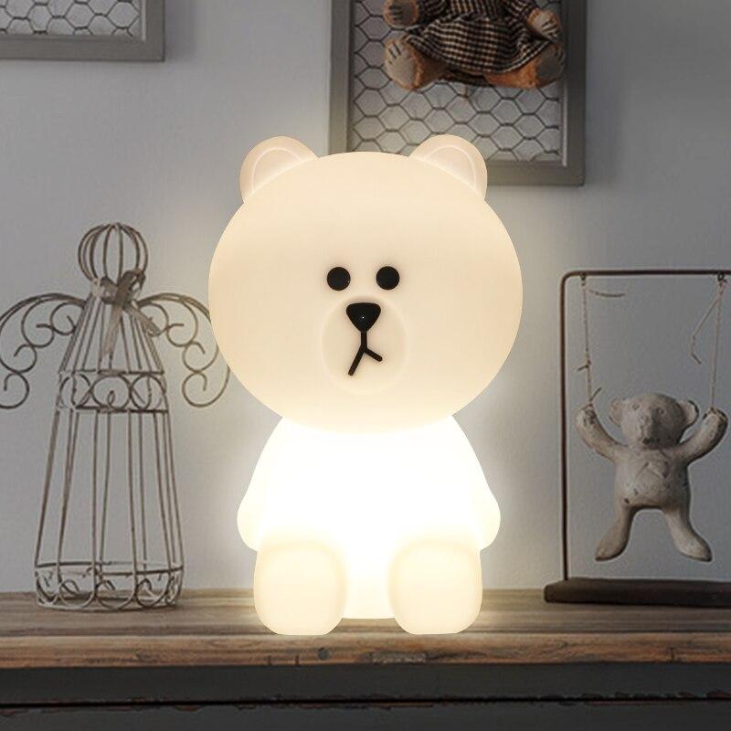 Bonito oso marrón luz LED nocturna con forma de conejo atenuación continua USB recargable para niños dormitorio escritorio lámpara de mesa para bebé regalo para niños