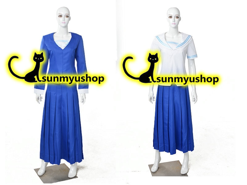 Free Shipping!Fruits Basket, Arisa Uotani, blue girl school uniform  Cosplay Costume ! Acceptable order