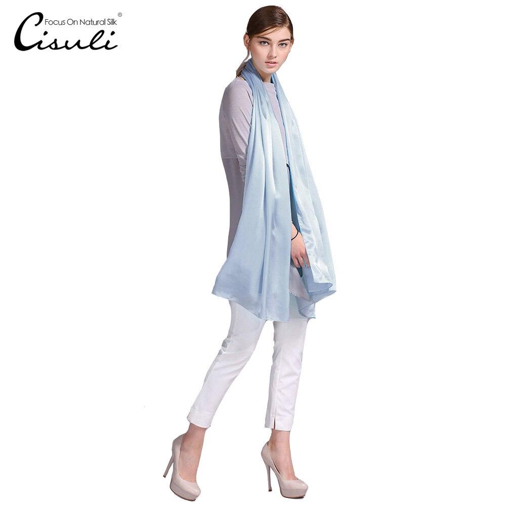 100% Silk Satin Long Scarf 55X180cm Pure Mulberry Silk Plain Color Silk Scarf Factory Direct Online Store 48 Purple Blue