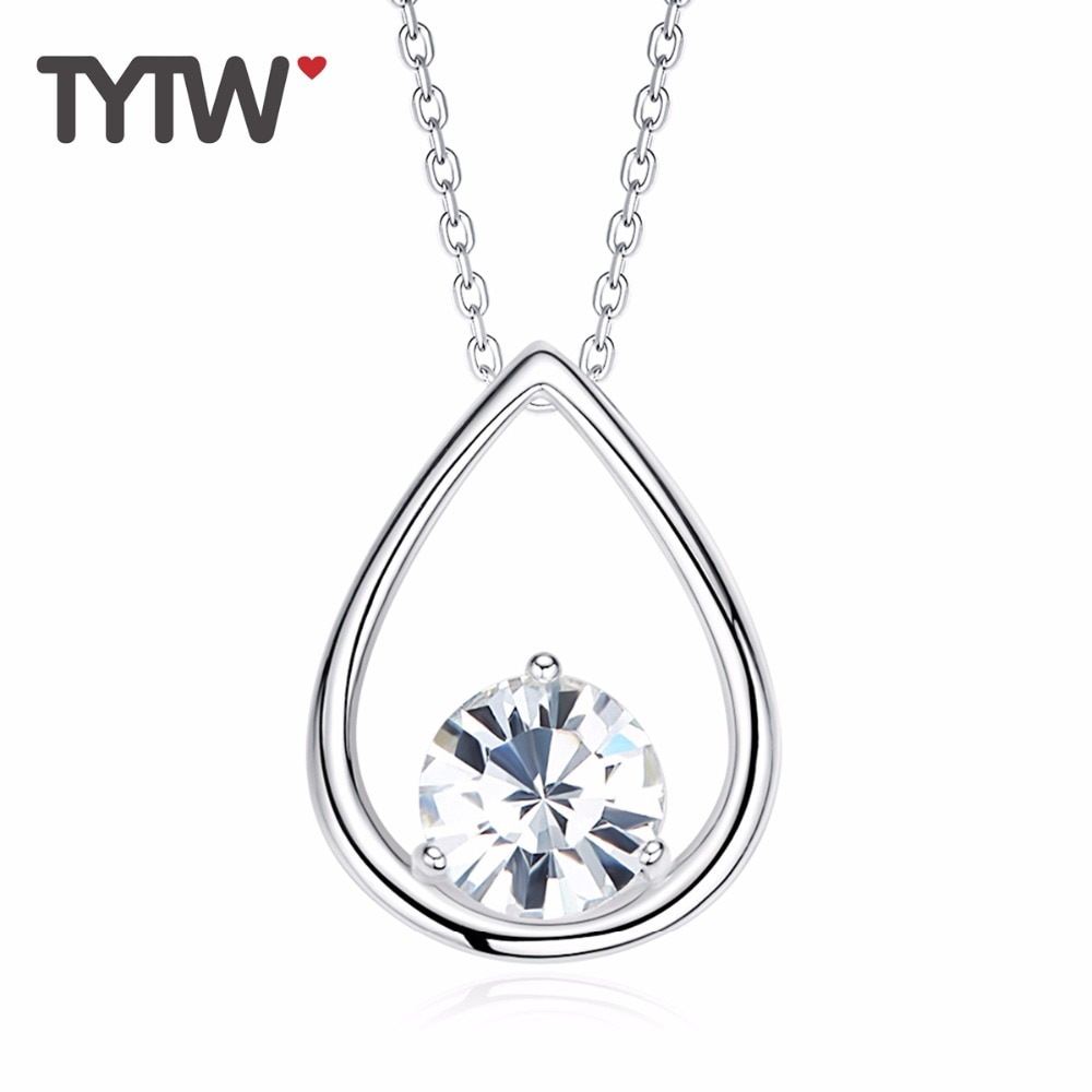 TYTW cristales Chic de mujeres austriacas Popular S925 collares de plata de ley collar de gota de agua de moda colgante para mujeres