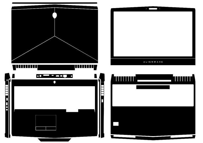 """Cubierta de pegatinas de piel de vinilo de fibra de carbono para portátil para Alienware 2016-2017 17 R4 AW17R4 17,3 """"sin Tobii Eye Tracker"""