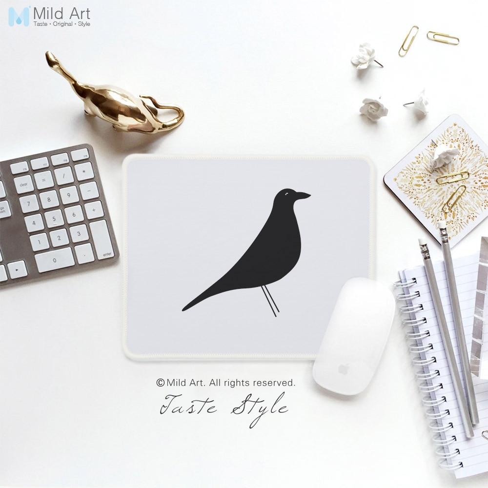 Moderno minimalista abstracto blanco y negro estampado de aves creativo regalos Oficina Nórdica jugador Juegos de PC alfobrilla de ratón ordenador conjunto tapete