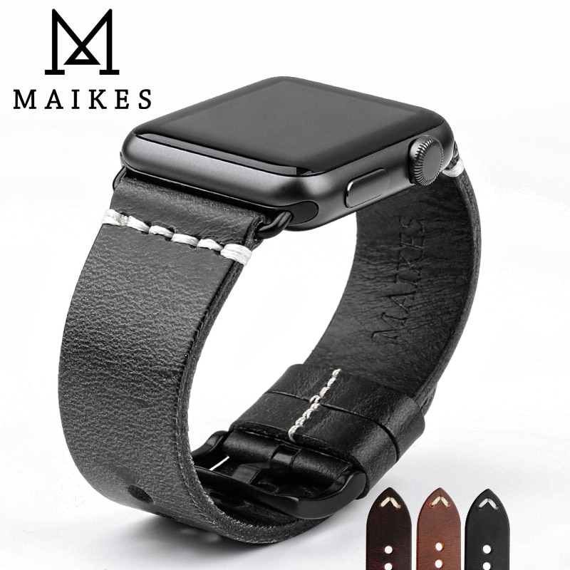 MAIKES Vintage Oil Wax Leather Strap For Apple Watch Band 42mm 38mm / 44mm 40mm Series 4/3/2/1 iWatch Black Bracelet Watchband maikes new arrival genuine leather iwatch 44mm 40mm watch band for apple watch strap 42mm 38mm series 4 3 2 1 bracelet watchband