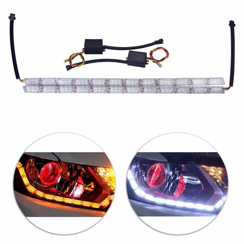 2 piezas Super brillante Ángel de cristal lágrima de los ojos de las luces de circulación diurna ámbar amarillo señal de giro DRL LED Switchback tira Flexible 12 V 12 V
