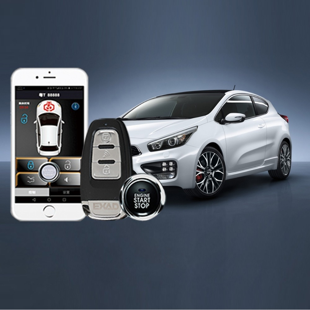 universal pke car alarm system with remote start car push button start passive keyless entry auto central control door lock Auto Remote Start Alarm Phone Control Car Alarm System Keyless Entry PKE RFID Lock Lgnition Start Stop By Smart Key