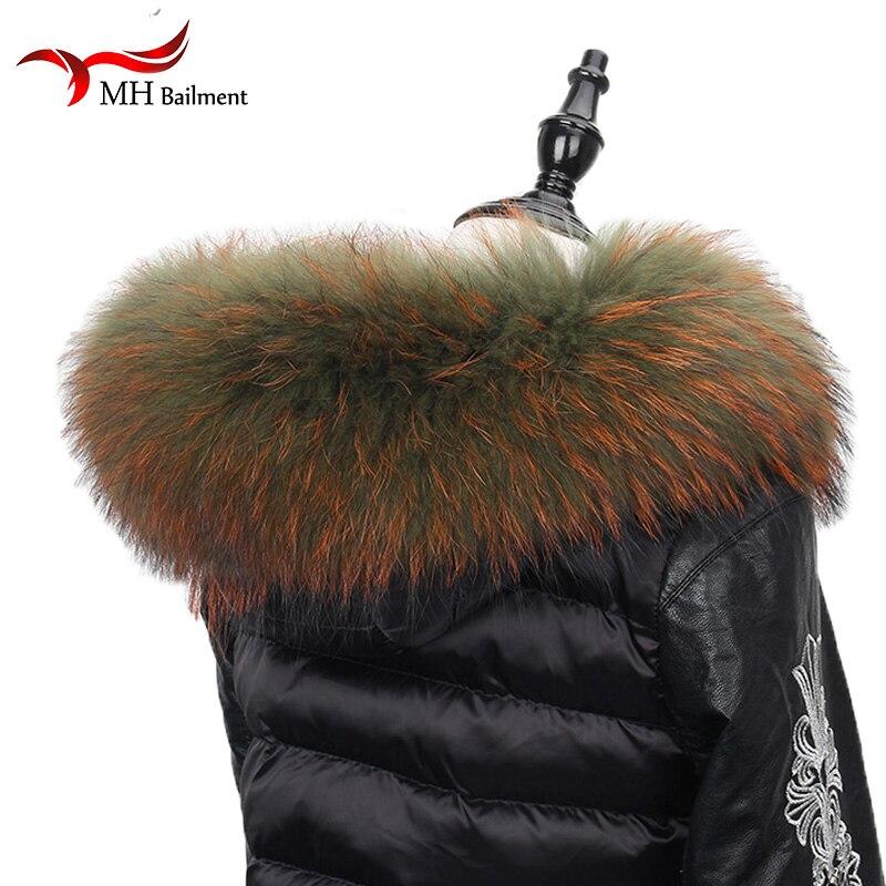 100% Genuine Real Natural Raccoon Fur Collar Women bandana women Scarf Fashion Coat Sweater Coat Hoodie woman neck scarves