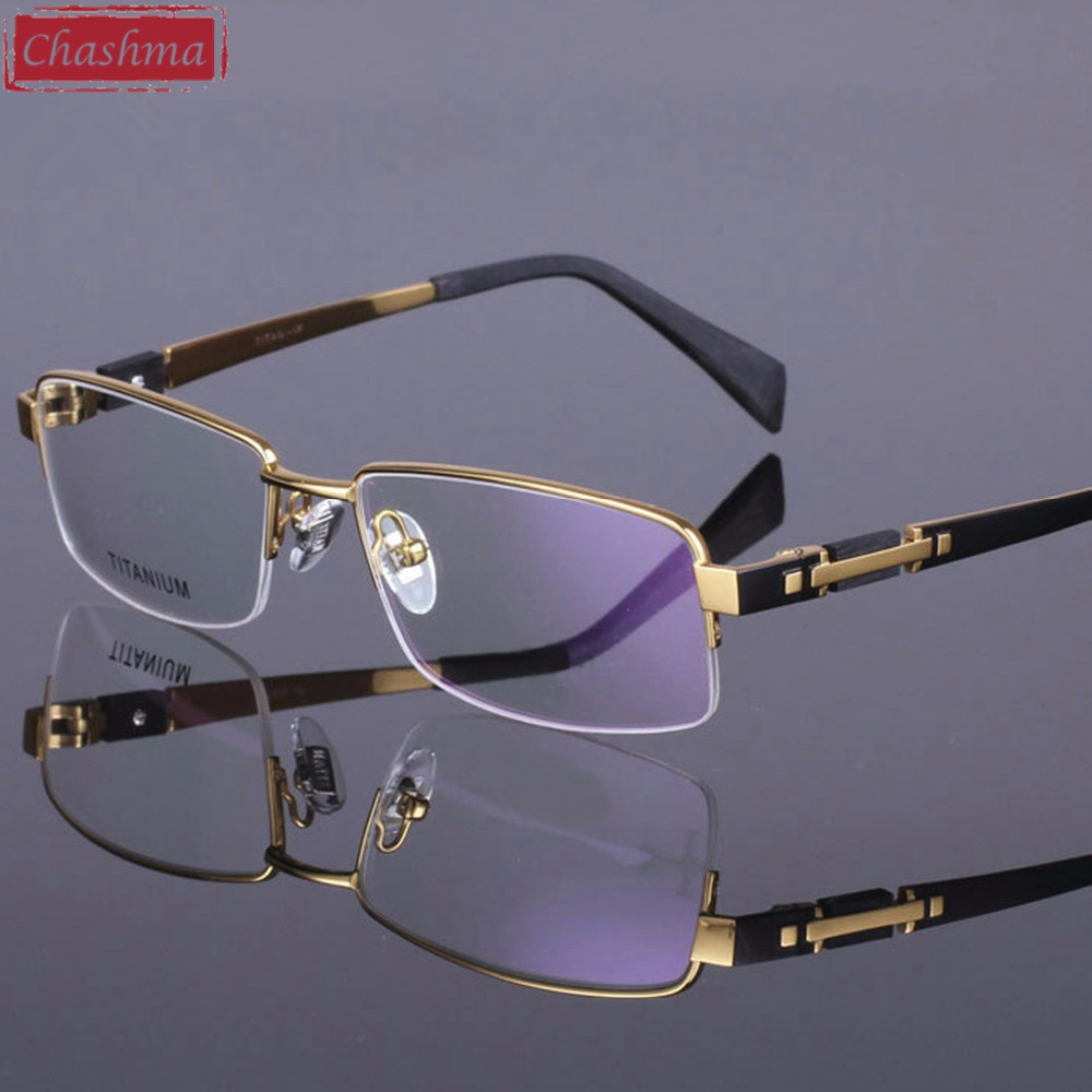 Chashma Pure Titanium Eye Glasses Half Rim Gentlemen Prescription High Quality Optical Eyewear Frame