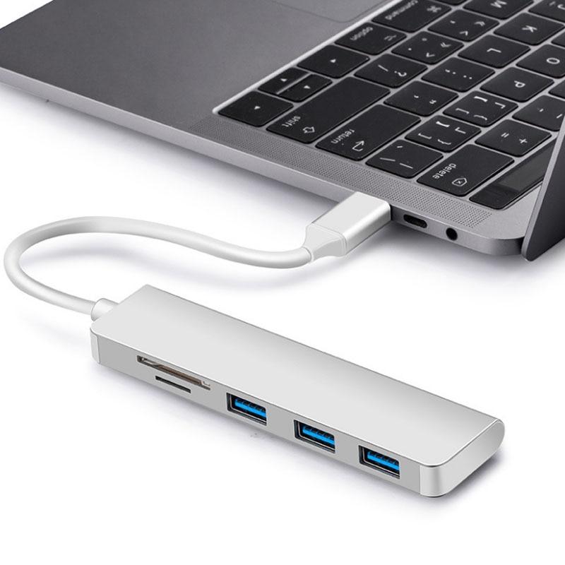 Adaptador de USB-C de aleación de Aluminiu 5 en 1 tipo C, puerto USB 3,0, lector de tarjetas SD para Chuwi AeroBook Plus Pro HeroBook Pro Laptap