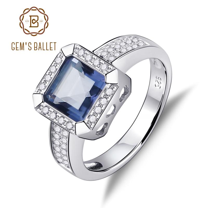 Gem ballet s ballet 2.2ct natural iolite azul místico quartzo pedra preciosa anéis vintage sólido 925 prata esterlina jóias finas para mulher