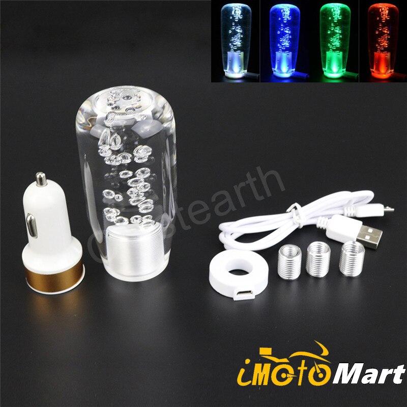 10 cm de estilo de coche LED de luz de Color que cambia la perilla de cambio de burbuja de cristal Manual de palanca de cambio con interfaz USB cargador
