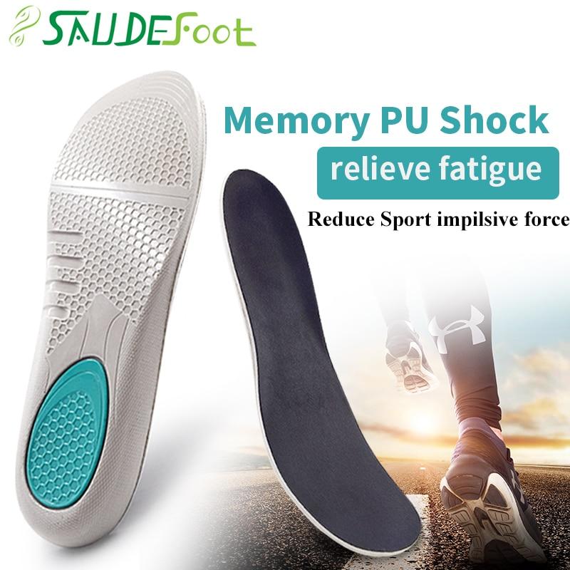 Saudefoot PU Sport Insoles Sweat Absorption Pads Pain Relieve  Material Flat Feet Running Sport Shoe Foot Care Men Women