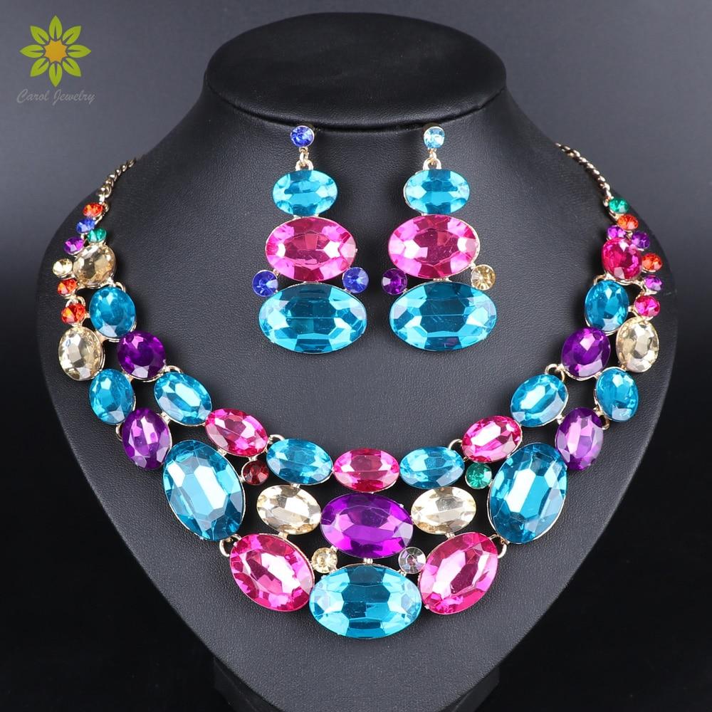Joyería india de moda, collar de cristal, pendientes, conjunto de joyería nupcial para novias, accesorios de decoración para trajes de boda