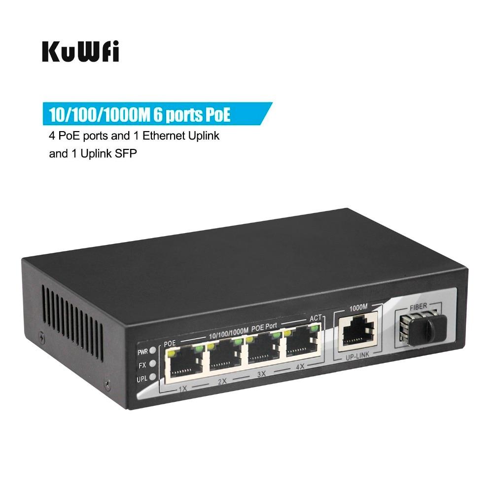 4 10/100 /1000Mbps Gigabit PoE ports 1 Gigabit Ethernet Uplink 1 SFP Gigabit Uplink Optical Ports PoE Switch Gigabit 65W
