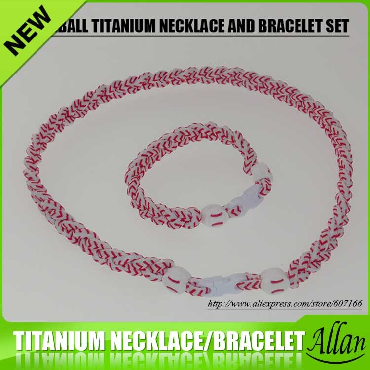 2017 baseball titanium sports necklace bracelet set