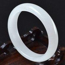 60-63mm diamètre intérieur Grade A haute qualité naturel blanc Jade bracelets Fine pierre gemme Jade Bracelet bijoux pour femmes cadeaux