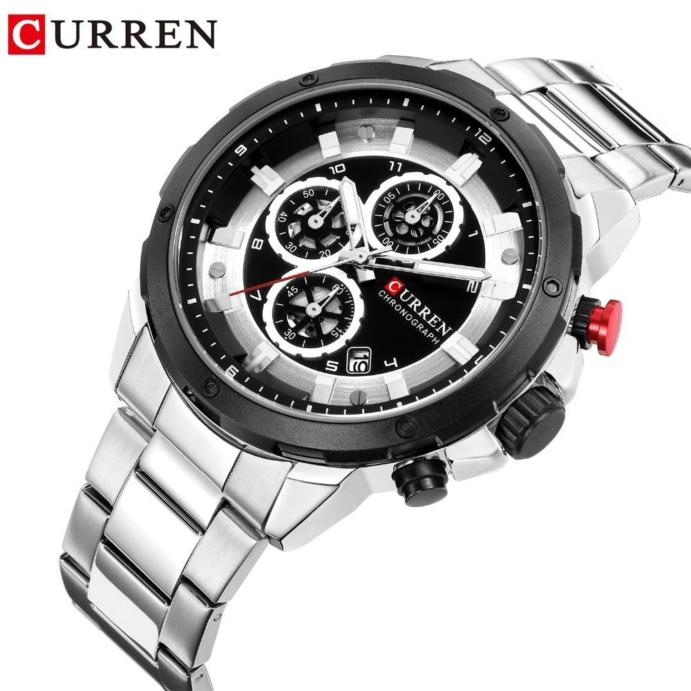 CURREN Watch Men Silver Luxury Quartz Steel Sport Top Brand Chronograph Clock Waterproof Wristwatches