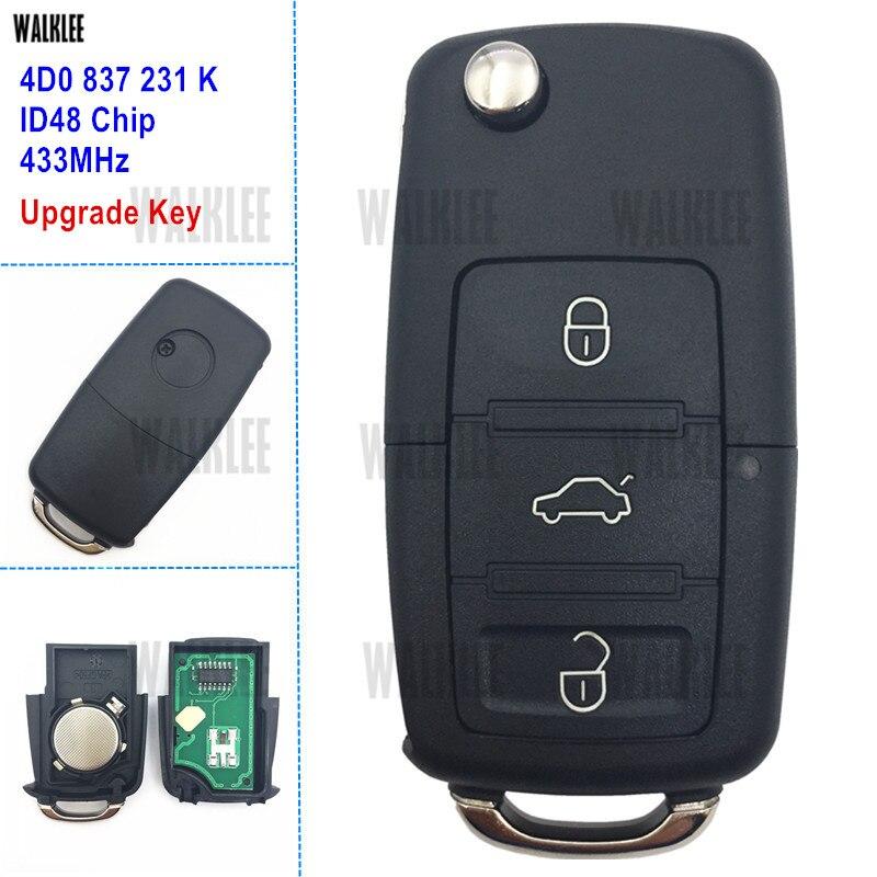 WALKLEE ulepszony zdalny klucz 433 MHz nadające się do Audi A6 S6 RS6 A8 TT 4D0837231K 4D0 837 231 K 231 K 1996-2006