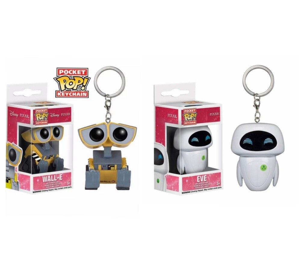 Pop novo pixar anime filme brinquedos eve & WALL-E chaveiro vinil figuras de ação coleção modelo brinquedos para crianças presente natal