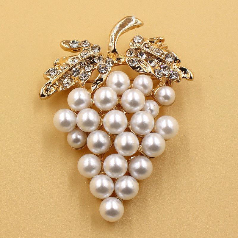 Broches de uvas broche de perlas de imitación Diamante de imitación para vestidos de novia Hijab Clip para bufanda Pins de hebilla