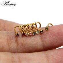 Alisouy 1 pièces en acier inoxydable Piercing nez anneaux boucle doreille Piercing avec minuscule rond cristal boucles doreilles goujons corps bijoux 0.8mm